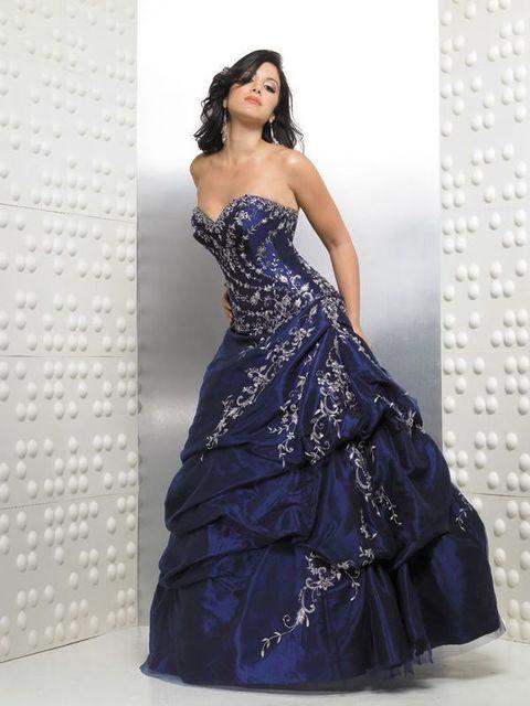 Em estoque tamanho 4.6.8.10.12 querida tafetá bordado azul marinho vestidos quinceanera corest voltar frete grátis