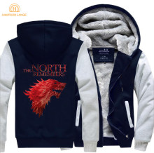 De North Onthoudt Game Of Thrones Huis Stark Merk Hoodie Mannen 2019 Nieuwe Lente Winter Jassen Fleece Sweatshirts Dikker Hoody(China)