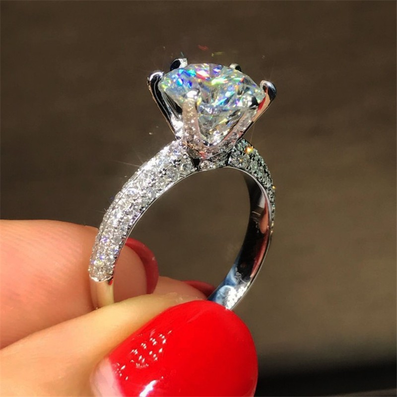 Classique Six griffe 100% Soild 925 Sterling argent anneau sona 1ct AAAAA Zircon Cz Engagement wedding band anneaux pour les femmes bijoux