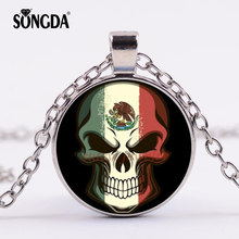 SONGDA New Horror Skull Unique Pendant Necklace Mexican Flag Sign Glass Cabochon Jewelry For Patriot Men Friend Worth Collecting(China)