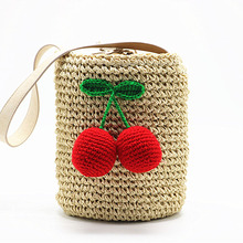 цена New Women's Handbag For Women Cute Hair Ball Cherry Handmade Straw Bags Summer Vacation Beach Bag Drawstring Basket Handbags
