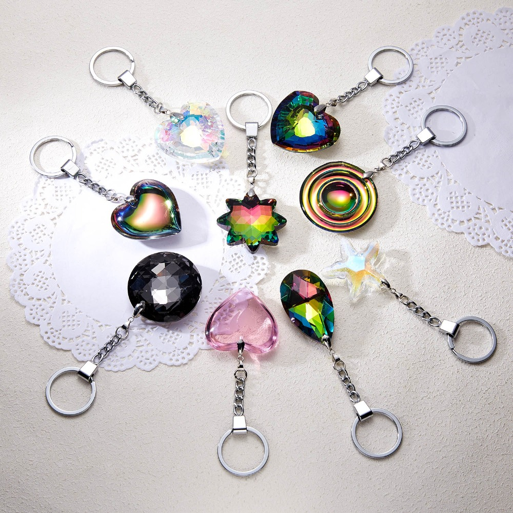 Rinhoo Popular Colorful Heart/Star/Water Drop/Round Crystal Key Chain Fashion Jewelry Accessories Gift For Women