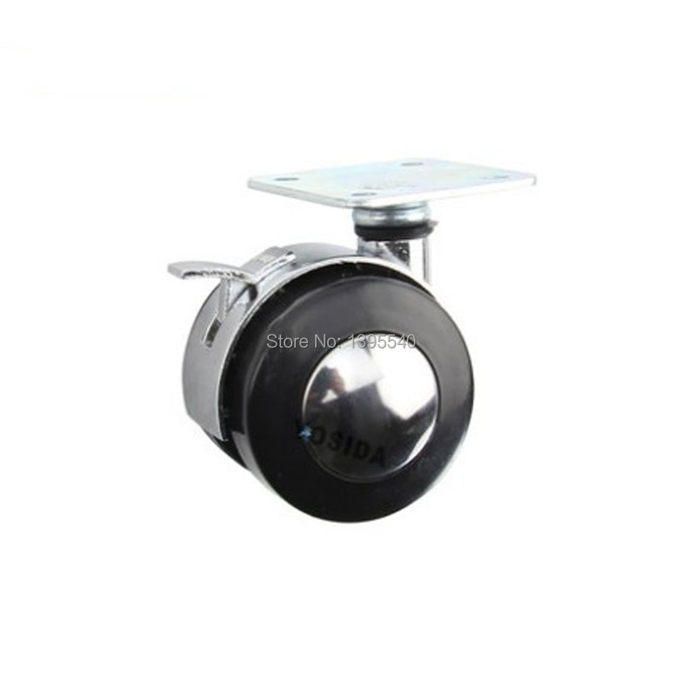 New 1.5''Durable Metal Furniture Wheel Plate Castors With Brake Furniture Rolling Swivel Universal Wheel Computer Chair Castor