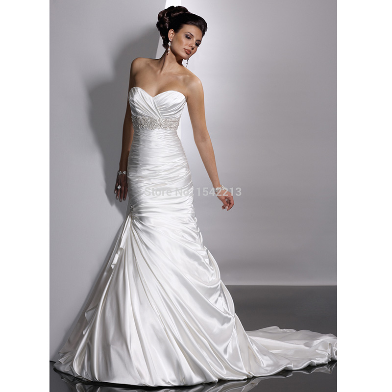 Buy shiny white elastic satin mermaid for Satin sweetheart mermaid wedding dress