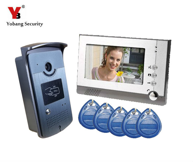 YobangSecurity 7 Inch Color LCD Video Door Phone Doorbell Intercom Entry System Kit 1-Monitor 1-Camera ,Support RFID Card yobangsecurity 7 inch video door phone intercom doorbell home entry intercom system kit 1 monitors 1 camera with rfid id keyfobs