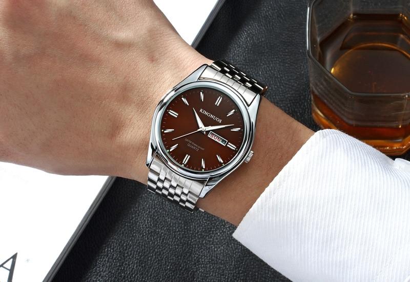 HTB1vlrHp1uSBuNjSsziq6zq8pXaB Kingnuos Brand New Design Business Man Watch Steel Waterproof Luminous Hour Date Week Clock Male Hodinky Quartz Men's Watch