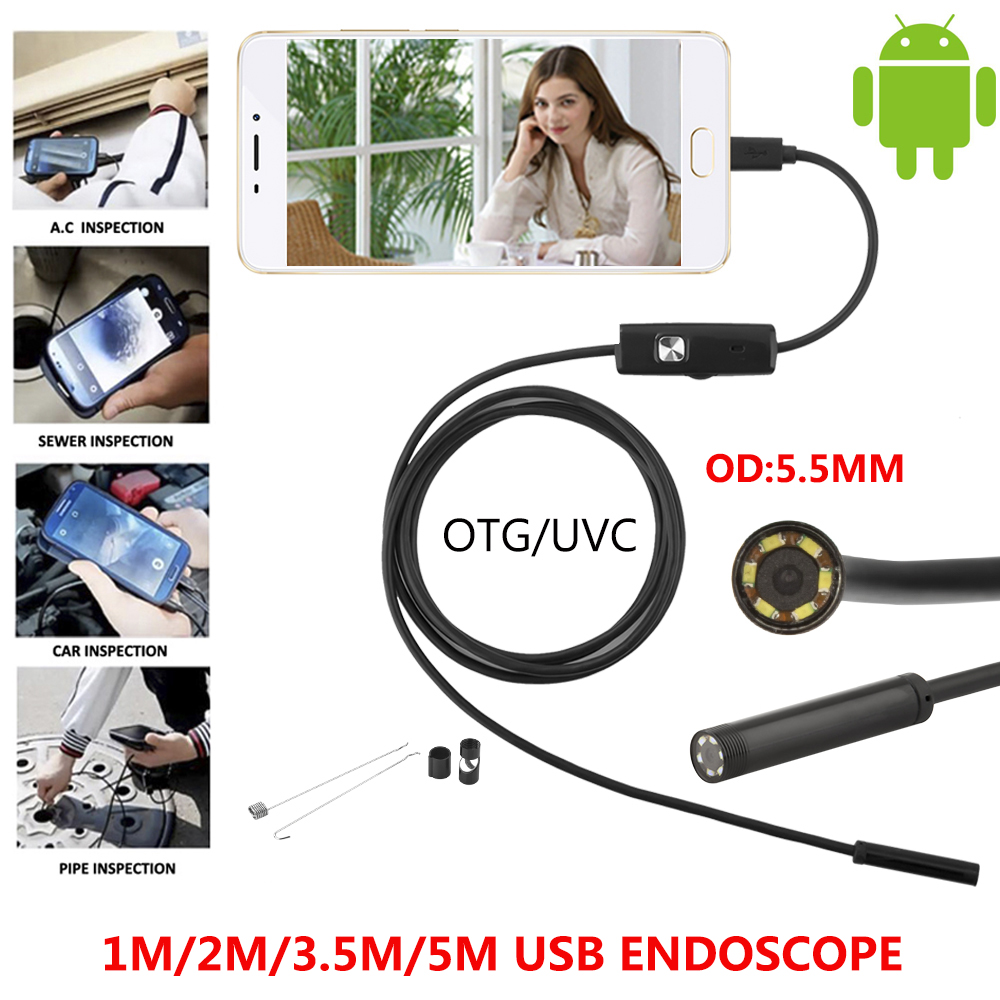 5.5mm Android Endoscope OTG Micro USB Endoscope Waterproof Borescopes Inspection Camera with 6 LED and 1M 2M 3.5M 5M Cable headset bullet usb otg compatible android smartphones digital camera
