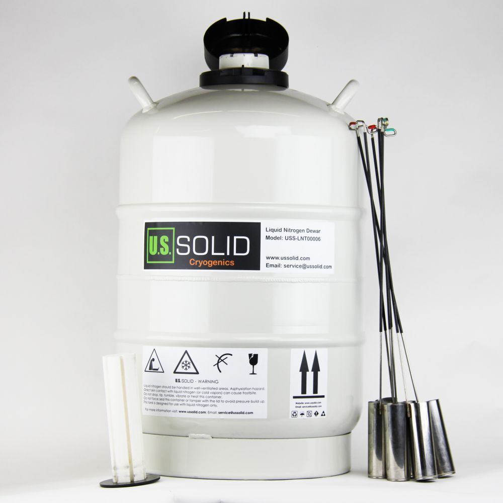 U.S. Solid 30 L Liquid Nitrogen Container Cryogenic LN2 Tank Dewar with 6 Canisters