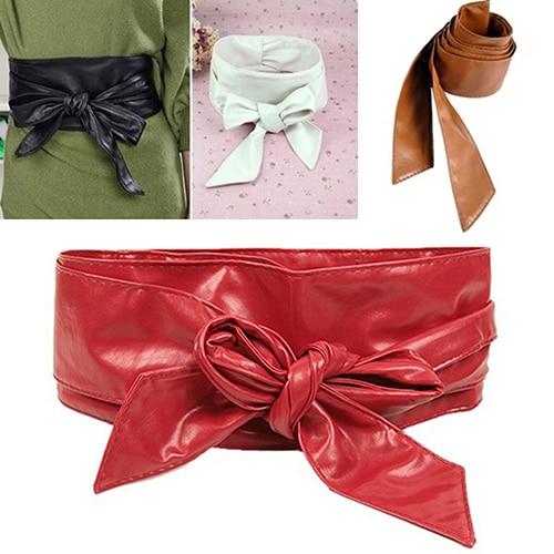 Women's Faux Leather Bowknot  Corset Tie Cinch Cummerbunds 76I4