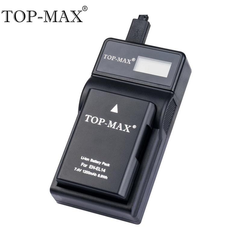 TOP-MAX EN-EL14 Smart USB Battery Charger With USB Cable For Nikon D3100 D3200 D5100 D5200 D5300 D5500 P7000 P7100 P7200 P7700