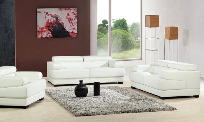Free Shipping 2017 New Design French 1 2 3 Modern Leather Sofa Set Clic White China L9042