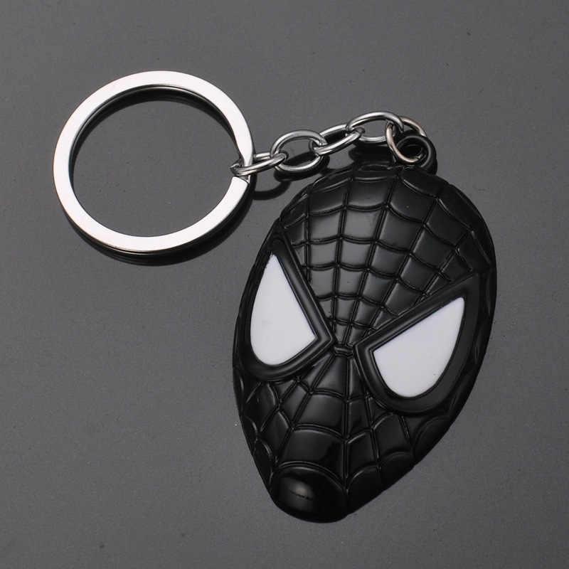 Entra No Mundo do Homem-aranha Filme Spider-Man Máscara De Metal Da Corrente Chave Chaveiro Chaviro Acessórios Do Assento de Carro homens E Mulheres de Jóias