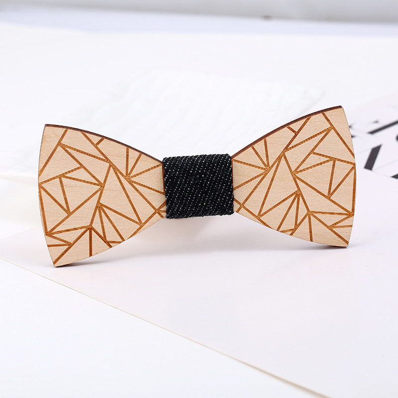 Men/'s Wood Bow Tie Accessory Wedding Party Bamboo Wood Bowtie Business Neck Wear