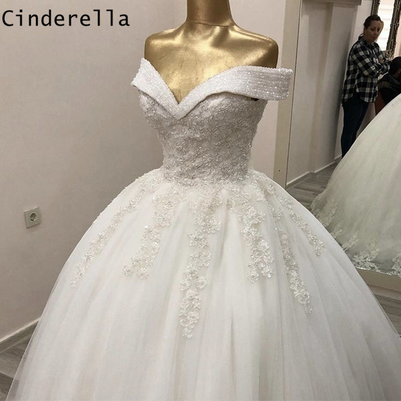 Cinderella Shining Crystal Beading Off The Shoulder Lace Up Back Lace Applique Princess Ball Gown Wedding Dresses Bride Gown