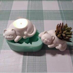 Image 2 - Moldes de hormigón para candelabro, moldes de silicona para portavelas, moldes de yeso para maceta de gato