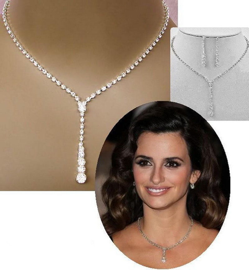 Earrings-Set Necklace Crystal Celebrity-Style Bridal-Bridesmaid Silver-Color Fashion