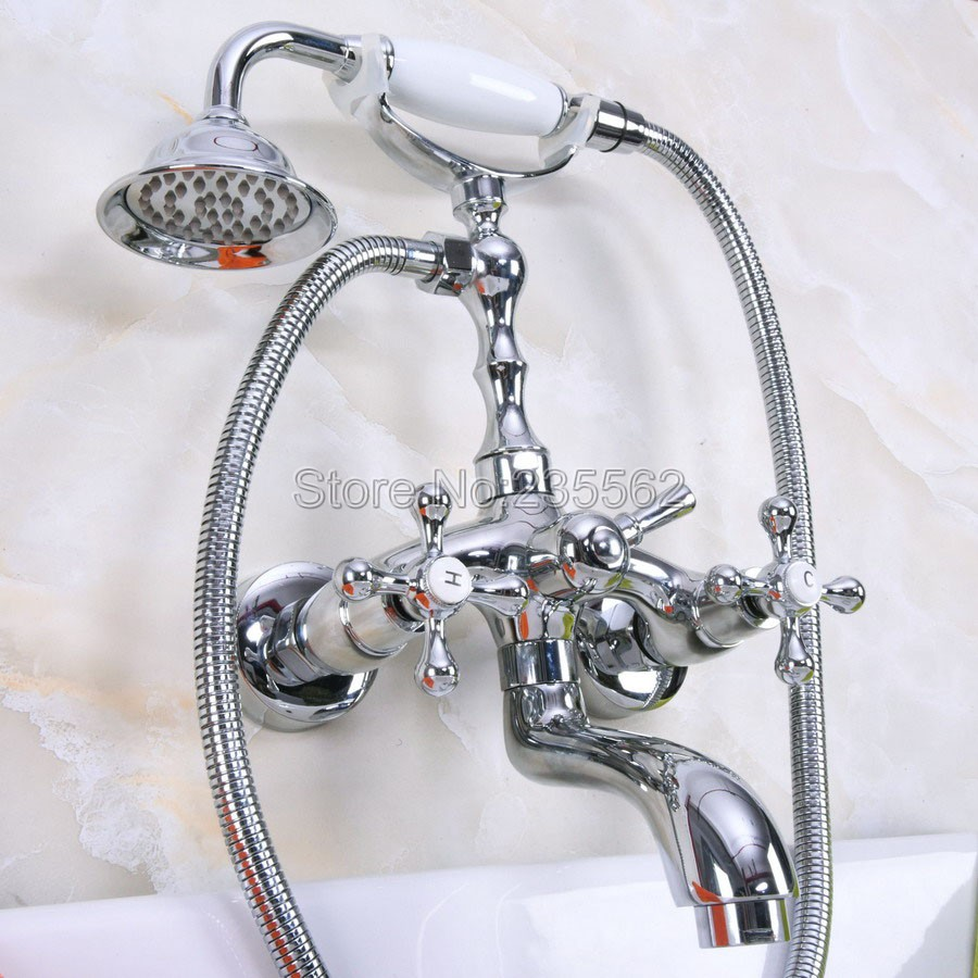 Chrome Wall Mounted Clawfoot Bathtub Faucet Set with Handheld Shower Mixer Taps llna200Chrome Wall Mounted Clawfoot Bathtub Faucet Set with Handheld Shower Mixer Taps llna200
