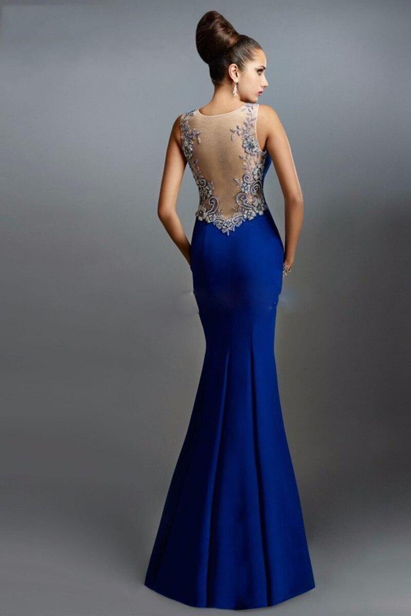 2017 Classical Royal Blue Evening Dress Long Satin Back See Through ...