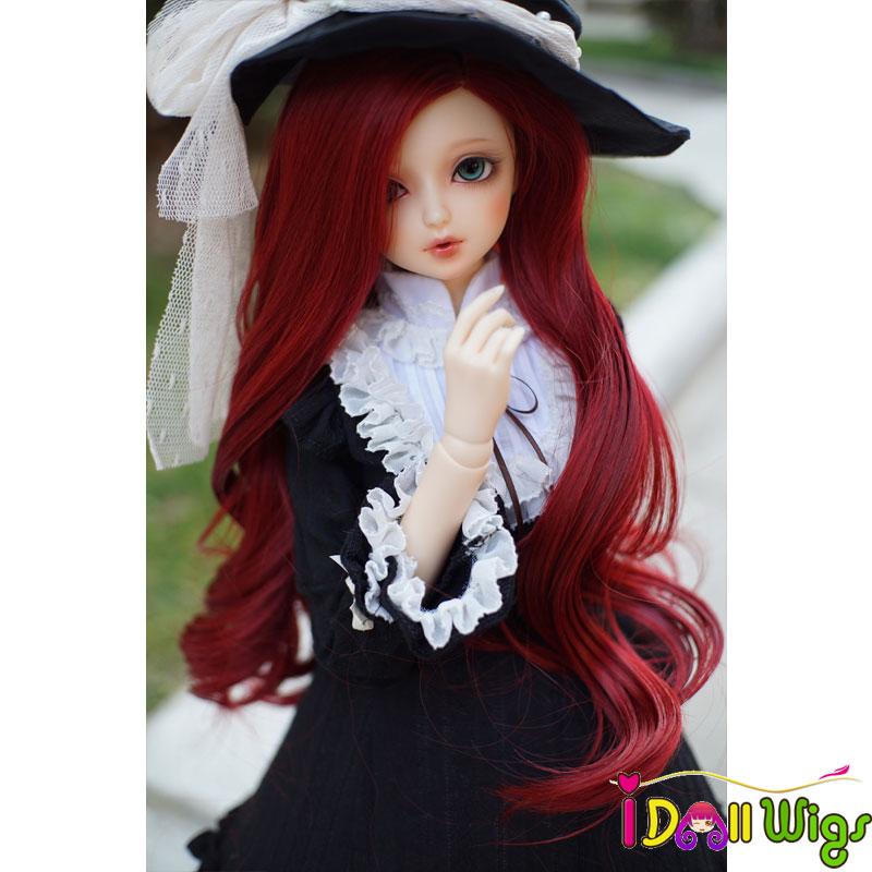 2018 New Fashion style High Temperature Wire Synthetic Long Red Wave Curly Doll Hair for 1/3 bjd Super Dollfile Hair Wig on sale adiors long neat bang instant noodles curly colormix synthetic wig