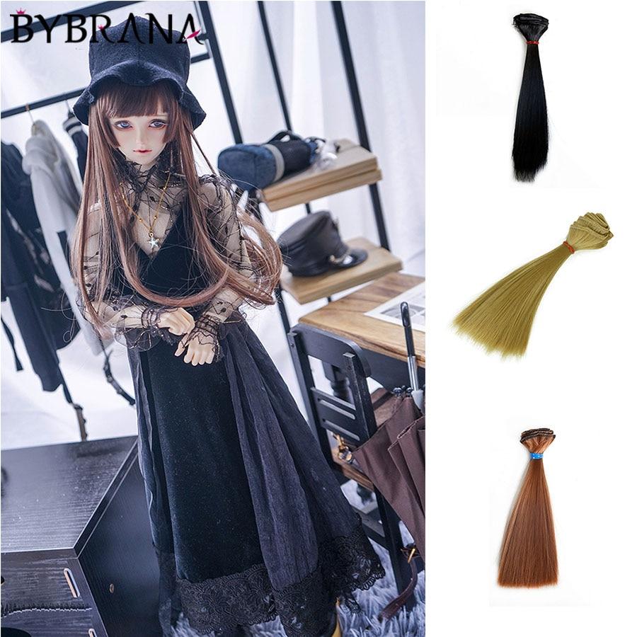 Bybrana 15*100cm Brown Golden Wine Red Black Straight DIY Hair High Synthetic Temperatur Fiber  BJD Wig For Doll
