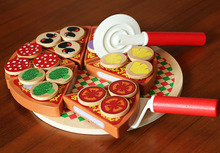 Children wooden pizza food game kitchen toys / Big size Cut assemble pizza for Kids and Child learning educational toys,gift box