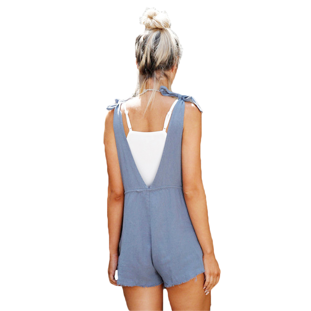 0c5dd5d22f6f Womens Playsuit Loose Overalls Jumpsuit Pocket Sleeveless Strap Romper  Dungaree Summer Shorts Tie Casual multiple styles Rompers-in Rompers from  Women s ...