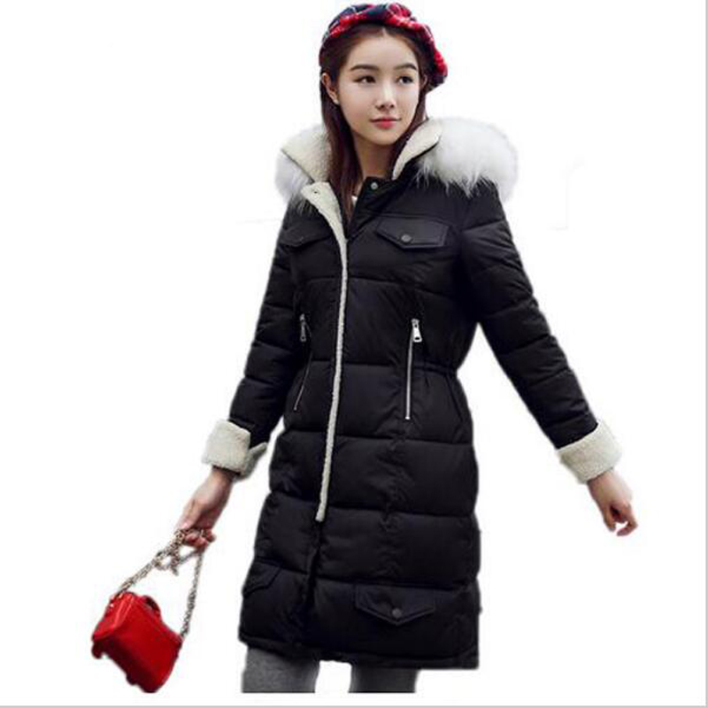 ФОТО 2016 New Arrival Winter Jacket Women Fur Collar Thickening Cotton-padded Long Coats Female Parks jaqueta feminina wt199
