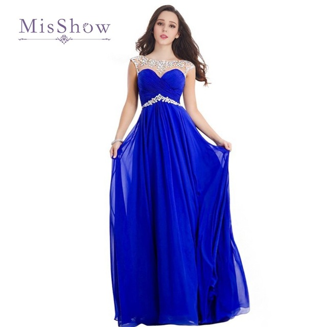 Royal Blue Bridesmaid Dresses Long 2017 Cap Sleeve Chiffon Beaded Red Wedding Party Vestidos