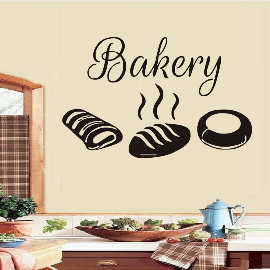 Free Shipping Bakery Kitchen Wall Stickers Decor,Hot Bread Decals ...
