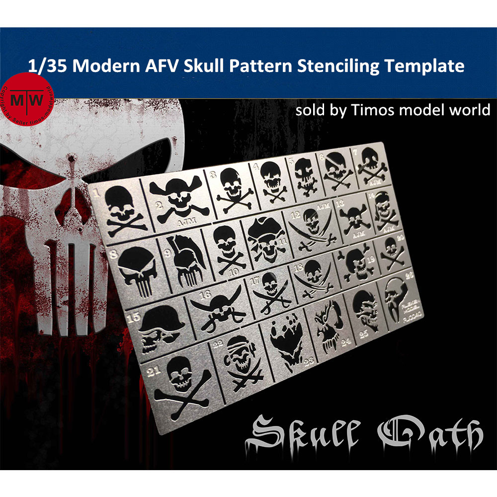 1/35 Scale Modern AFV Skull Pattern Stenciling Template Leakage Spray Plate Model Building Tools AJ0040