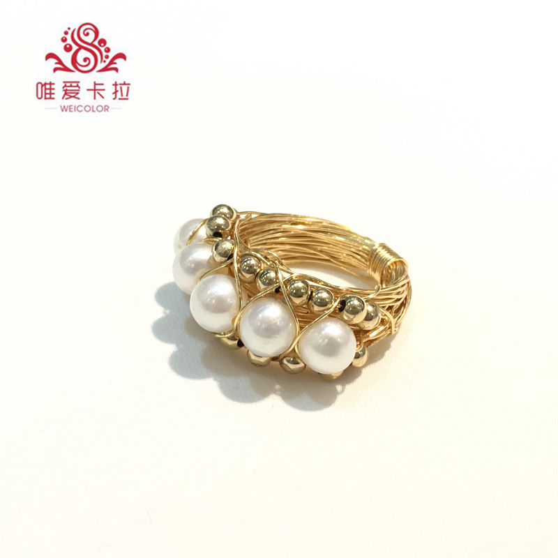 WEICOLOR DIY Popular Handmade Ring, 6-7mm White Round Freshwater Pearl on Gold Mixed . Contact for Size in Diameter.WEICOLOR DIY Popular Handmade Ring, 6-7mm White Round Freshwater Pearl on Gold Mixed . Contact for Size in Diameter.