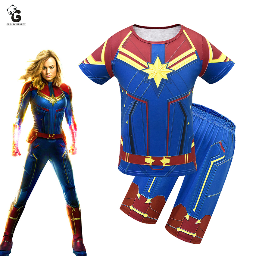 Avengers Captain Marvel Cosplay Costumes Kids Short Sleeve Costumes For Girls Captain Marvel Costumes Halloween Party Dress Sets