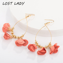 Lost Lady 5 Colors Tassel Earrings for Women Fashion Jewelry Big Band Style Ethnic Female Summer Flower Drop
