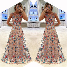 HIRIGIN 2017 Hot Women Long Prom Floral Formal Party Bridesmaids Gown Full Dress Summer Girl Sleeveless Suit