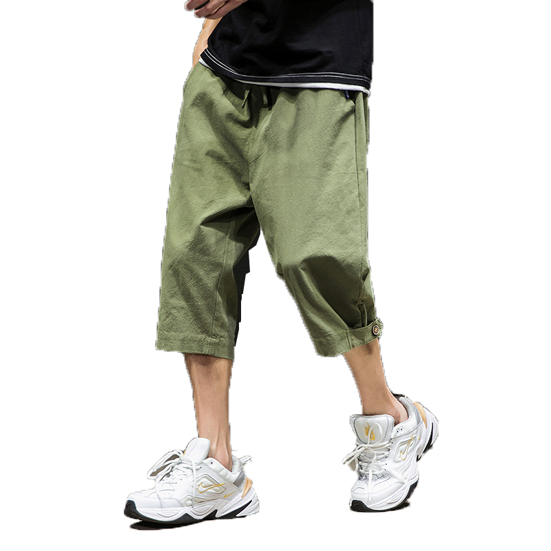 Harem Pants Trousers Loose Chinese-Style Mens Bloomers Cropped Wide-Crotch Wide-Legged