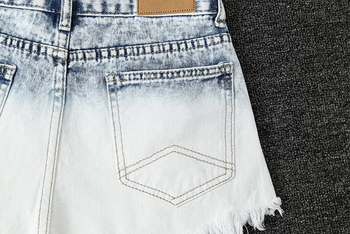 Womens Light Blue Gradient Denim Shorts Trendy Raw Edged Rivets High Waist Jeans Female Wild Fashion Mini Cowboy Shorts New D341 5