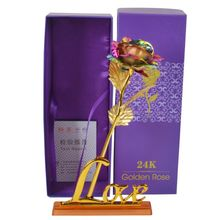 Gold Rose Flower Golden with Box Valentines Day Creative Gift 24K Foil