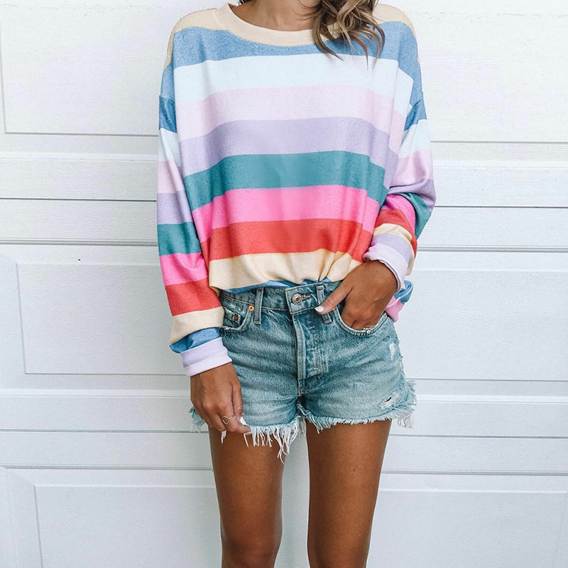 Spring Autumn Girls Tops And Blouses Stripe Spherical Neck Lengthy Sleeves Informal Shirts Free Tops Womens Clothes Blouses & Shirts, Low cost Blouses & Shirts, Spring Autumn Girls Tops...