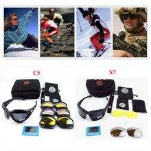 Открытый Тактические Очки X7 поляризационные военный C5 очки Airsoft очки Для Стрельбы Охота Спорт защиты солнцезащитные очки Для мужчин