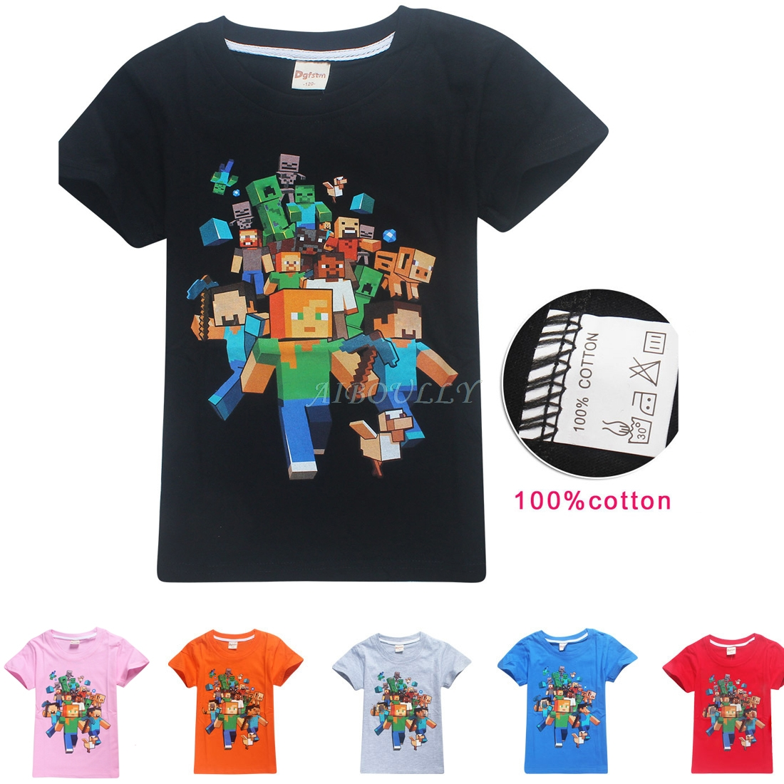 6 Colors Boys Girls Cotton Summer T-shirt Tops Tees Short Sleeve MineCraft T Shirt Boys Girls O-Neck Tees Tops 4-14T KIDS Gifts new hot summer kids boys girls cartoon tees tshirt kids t shirt short sleeved tops cotton clothes pattern cactus cicishop