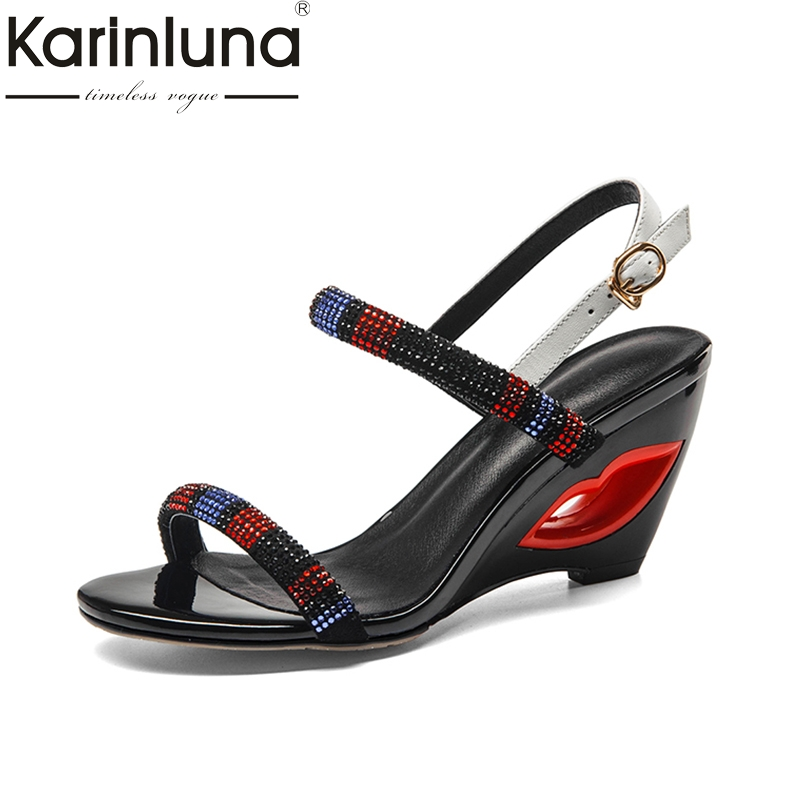 KarinLuna 2018 Summer Brand Natural Kid Suede Ethnic  Women Sandals Hollow High Wedges Shoes Woman Date Women Casual Shoe phyanic 2017 gladiator sandals gold silver shoes woman summer platform wedges glitters creepers casual women shoes phy3323