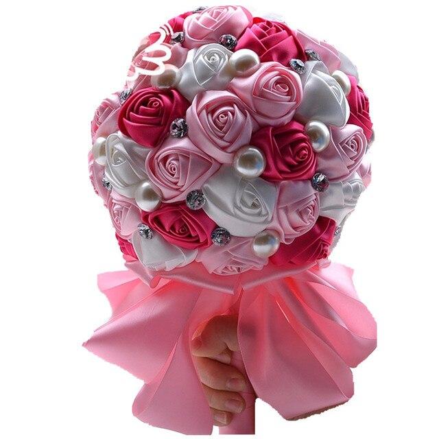 Милые Розовые Розы Перл Бисера Мяч Свадебный Букет Искусственного Шелка Лента Цветы Свадебный Букет Невесты, Взявшись За Руки Букеты Q341