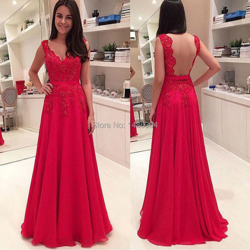 Hot Sale Sash Long Fornal Evening Dresses 2016 Red Lace Appliqued Sexy Backless Women Pageant Gown A-Line Robe Soiree x11181