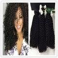 Brilho completo Unproecssed Brasileiro Virgem Cabelo Kinky Curly Cabelo Humano Tece Sew em Extensões Do Cabelo Encaracolado Cabelo Humano Tecelagem 300g