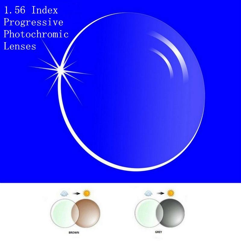 1.56 Index Progressifs Ordonnance Verres Photochromiques Livraison Forme Multi Focale sans ligne pour Transit Gris Brwon Lentilles