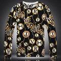 Personalidade estilo europeu e Americano padrão de letras camisola boutique 2016 Outono & Inverno moda qualidade camisola dos homens M-XXXL