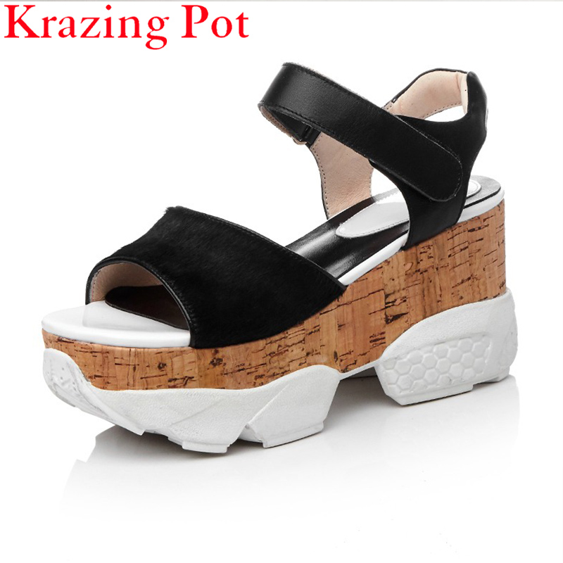 Fashion Genuine Leather Peep Toe Brand Shoes Platform Mixed Colors Horsehair Women Sandals Increased Wedges Superstar Shoes L14
