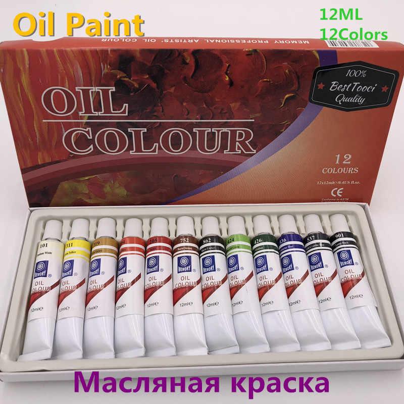 Merek Profesional Cat Minyak 12 Ml 12 Warna Set Kanvas Pigmen Perlengkapan Cat Akrilik Setiap Tabung Gambar Gratis Pengiriman