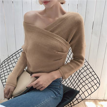 2419f9dbad Long Sleeve Sweaters Women 2018 Autumn Fashion Sexy Knitted Sweaters Women  Wrap Tops V Neck Slim Off Shoulder Sweater Pullovers
