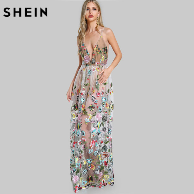 679919667b7e6 SHEIN Double Strap Embroidered Mesh Overlay Dress Multicolor Spaghetti  Strap Deep V Neck Sexy A Line